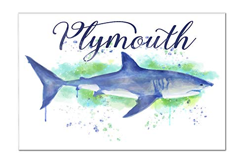 Plymouth, Massachusetts - Great White Shark - Watercolor (24x16 Acrylic Wall Art Gallery - Plymouth Lantern Hanging