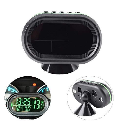 Yosoo Multi-functional 12V Car Auto LCD Digital Clock Thermometer Temperature Voltage Meter Monitor (Green) (Led Car Clock)