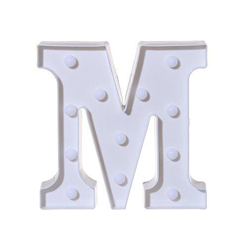 JPJ(TM) New❤️Letter Light❤️1pcs Fashion Alphabet Led Letter Lights Light Up White Plastic Letters Standing Hanging A-N -