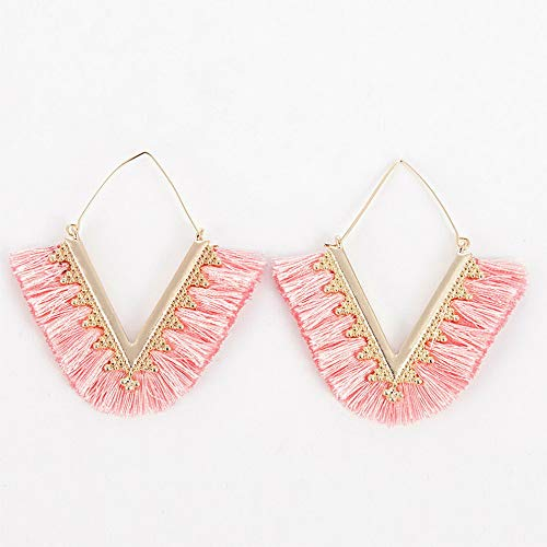 Wausa Women Colorful Bohemian Earrings Summer Long Tassel Fringe Boho Dangle Earrings | Model ERRNGS - 10706 |