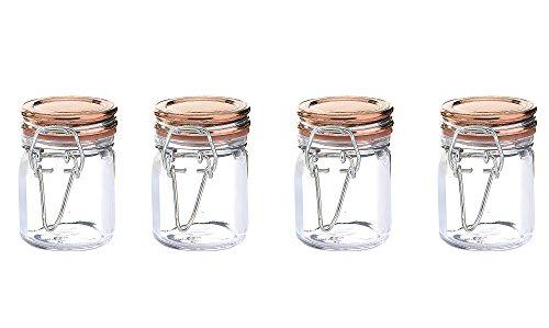Kinetic GoGreen Glassworks Copper Style 4Piece Glass Jar Storage Set; 1.52 oz. Each 57151, , Clear
