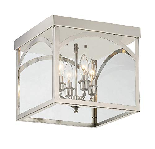 Savoy House 6-3058-4-109 Garrett 4 Light Flush Mount in Polished Nickel