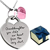 GLAM ''Granddaughter You Stole Our Heart'' Keepsake Sentimental Heart Necklace