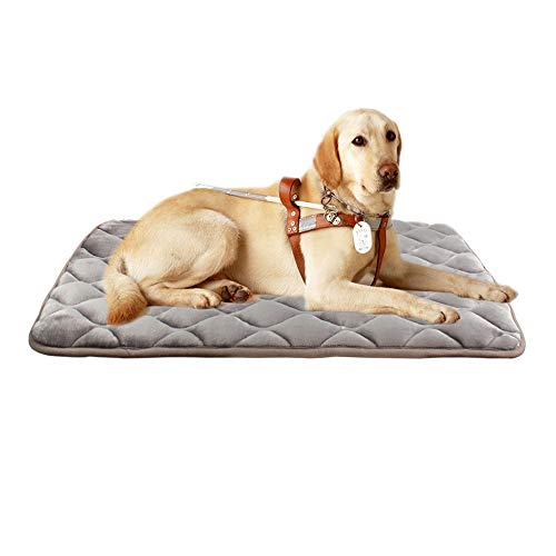 furrybaby Dog Bed Mat Crate Mat with Anti-Slip Bottom Machine Washable Pet Mattress for Dog Sleeping (L 40x28'', Sliver Grey Mat)