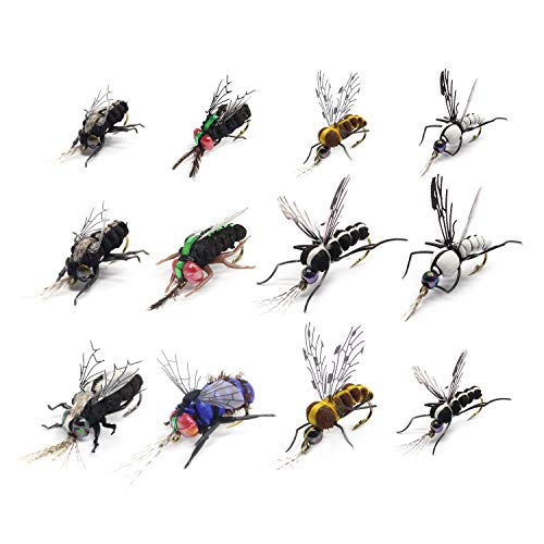 - YZD Realistic Fly Fishing Flies Set Dry Fly Mosquitos Set of 12 Flies Handmade Rainbow Trout Fishing Lure kit Flyfishing