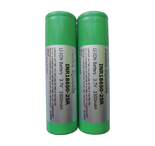 PhotonDynamic 18650 Rechargeable Batteries INR18650-25R 2500mAh 3.7v 20A Discharge Li-ion 18650 Flat Top Battery(2PCS)