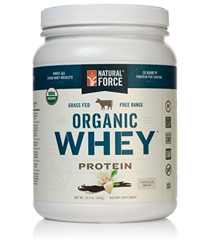 Natural Force® Organic Whey Protein Powder *RANKED #1 BEST TASTING* Grass Fed Whey - Undenatured Whey Protein - Raw Organic Whey, Paleo, Gluten Free Natural Whey Protein, Vanilla Bean, 14.3 oz.