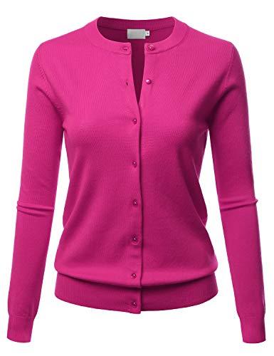 LALABEE Women's Crew Neck Gem Button Long Sleeve Soft Knit Cardigan Sweater HOTPINK M