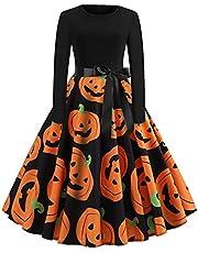 Halloween Jurken Womens Lange Mouw Ronde Hals Cocktail Swing Heks Jurk Skelet Pompoen Printing Heks Dress Up Cosplay Kostuum Jurk Halloween Kostuums voor vrouwen
