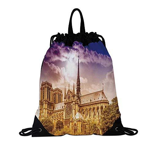 (Paris Decor Canvas Drawstring Bag,Notre Dame Cathedral Paris Parisian Gothic Trees Forest Sunshines Cloudy Sky for Travel School,7.4
