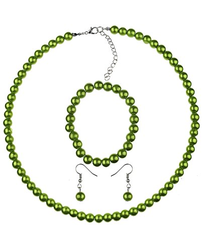NYFASHION101 Women's 7mm Simulated Pearl Necklace with Stretch Bracelet and Ball Earrings, Olive