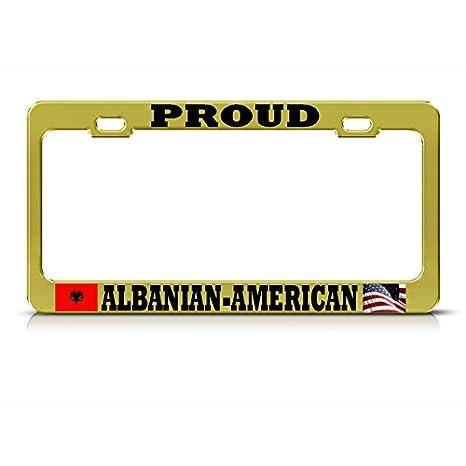 Marco de matrícula de Oro Americano de la Luna de Albania, con la Bandera del
