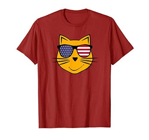 - Cool Smiley Face American Flag Sunglasses Funny Cat T-Shirt