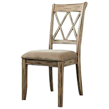 Ashley Furniture Signature Design Mestler Dining UPH Side Chair, Antique White, Set of 2, Regular, Upholstered Seat