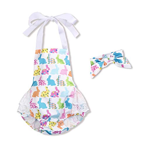 Letiane Baby Girls Easter Romper Halter Bunny Bodysuit Backless Jumpsuit Headband 2Pcs Clothes (Easter Rabbit, 80/3-6M)