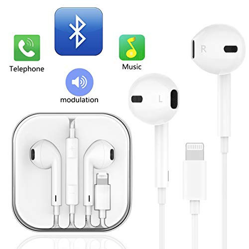 Earphones, with Microphone Earbuds Stereo Headphones and Noise Isolating Headset Compatible iPhone Xs/iPhone XR/iPhone X/iPhone 7/iPhone 8 (White)