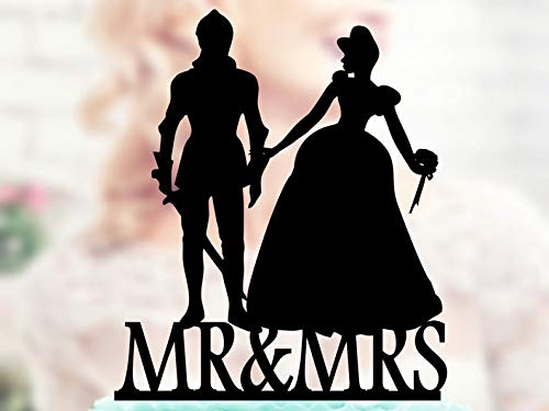 - Knight and Princess Silhouette, Cake Toppers ,Laser Cut, Gay Lesbian Friendly, Acrilic Cake Topper , Bride and Groom topper