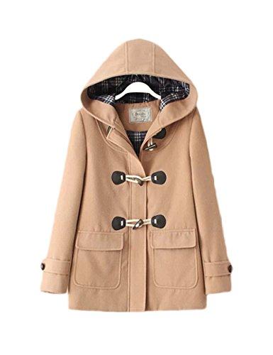 Abrigo de lana de botones de bocina Retro de la mujer Khaki L