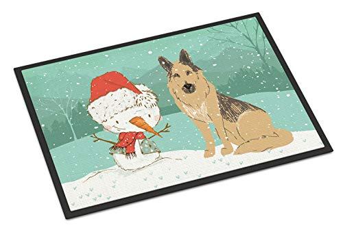 (Caroline's Treasures German Shepherd and Snowman Christmas Door Mat Multicolor)