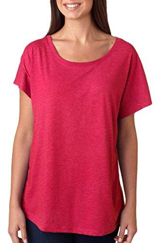 Next Level Apparel 6760 Lady Tri-Blend Dolman Tee Shirt - Vintage Shocking Pink44; 2XL Vintage Ladies T-shirt