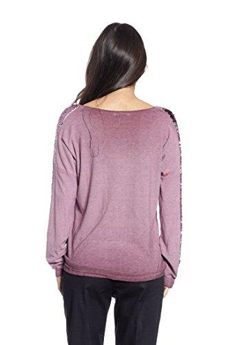 Abbino 15631 Camisas Blusas Tops para Müjer - Hecho en ITALIA - Colores Variados - Verano Otoño Primavera Mujeres Elegantes Formales Manga Larga Casual Vintage Oficina Fiesta Rebajas Rojo Vino (Art. 6303-22)