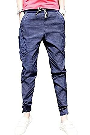Popular Mens Casual Trousers Tapered Drop Jogger Pants (XX-Large, Purple)