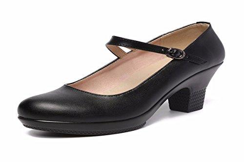 Solo Cabeza Solo Zapato Redonda Square Mujer Mediana Zapatos Dance De Duro Edad black Zapatos con Shoes De Qiu Qipao Cuero Un Zapatos de HBDLH q1nPUw