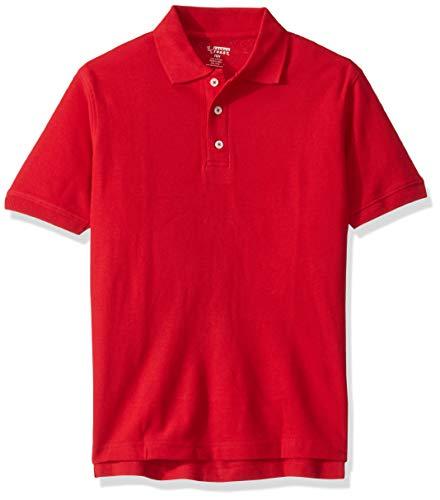 French Toast Boys' Big Short Sleeve Pique Polo Shirt Original, Red, 10 Husky ()