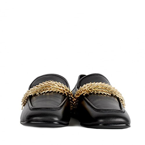 Ash Edgy Loafers Black Leather & Gold Studs Black/Gold 85dPiDBnYt