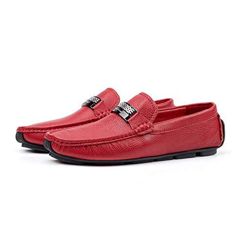 Rojo Cuero Negro Hombre Calzado Otoño Zapatos Fuweiencore Zapatillas Primavera Cordones De Perezosos Hombre Conducción Sin Mocasines Confortables Y Casual Moda 1qvHUC