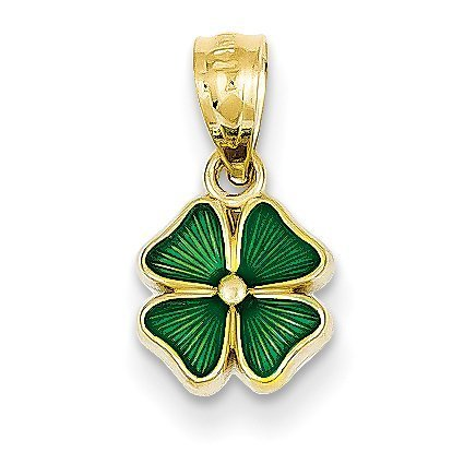 Pendant Gold Tri Color Leaf - 14K Yellow Gold Green Enameled Four Leaf Clover Pendant - (0.79 in x 0.39 in)
