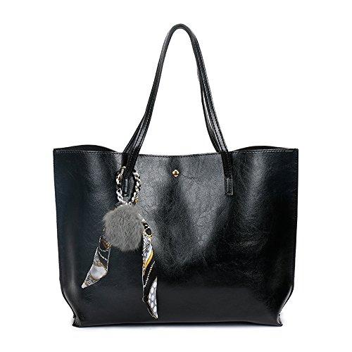 Capacité MaysUrban Noir Sac avec Foulard Simple en Porté Cabas Designe Cuir Grande Tote Bag épaule q0w1aqU