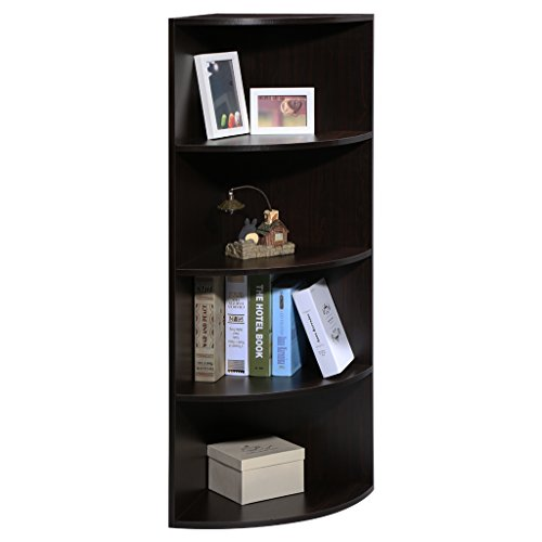 "LANGRIA 5-Tier Corner Shelf Bookcase Mutipurpose Freestanding Modular Shelving, Round End Shelves, Sturdy MDF Construction, Home Office Use, 15.6"" x 15.6"" x 47.2"", Black Walnut (Bookcase Round Walnut)"