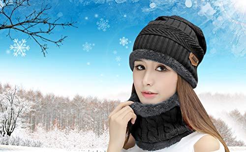 HINDAWI Womens Beanie Winter Hat Scarf Set Slouchy Warm Snow Knit Skull Cap 89b87dc666ab