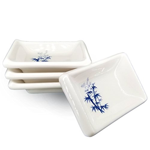 Happy Sales HSDBBM4T, Melamine Sauce Dipping Bowls, Sauce Dishes, Set of 4 pc Tetragon, Bamboo (Sauce Soy Dish)