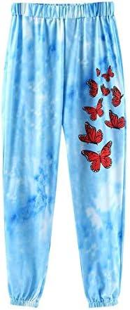 Haozin Women Pajama Pants Tie-Dye Sweatpant Trousers Legging Sleep Separate Bottoms Lounge Warm Butterfly Loungewear
