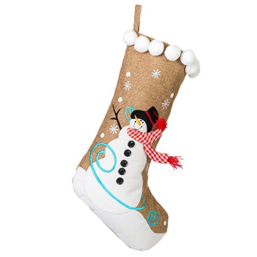 19 inch Burlap Snowman and Checkered Scarf Christmas Stocking with Pom Pom ()