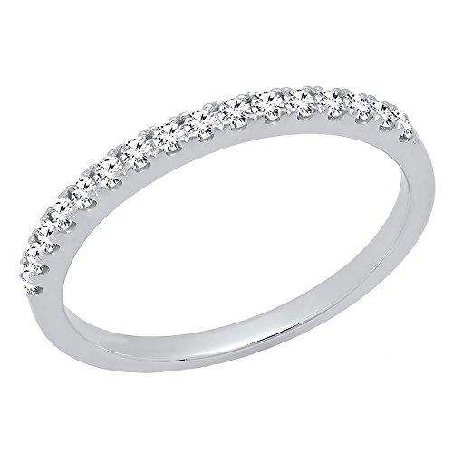 Dazzlingrock Collection 0.25 Carat (ctw) 10K Round White Diamond Ladies Wedding Stackable Band 1/4 CT, White Gold, Size 7 (Gold Band Diamond Engagement Ring)