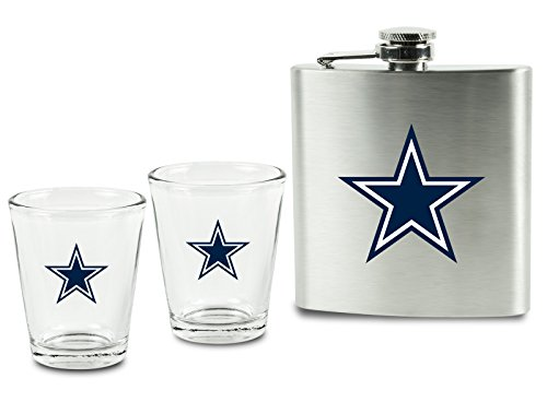 NFL Dallas Cowboys Shot Glasses & Brushed Stainless Steel Flask Set -