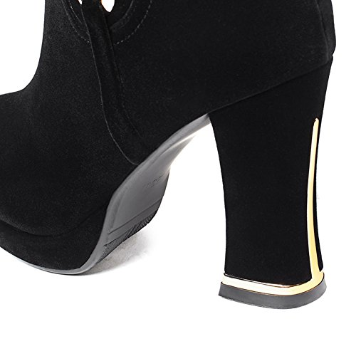 Women's Slouched Black Knee Up Boots High Lace DecoStain Platform vHw6xqgpH
