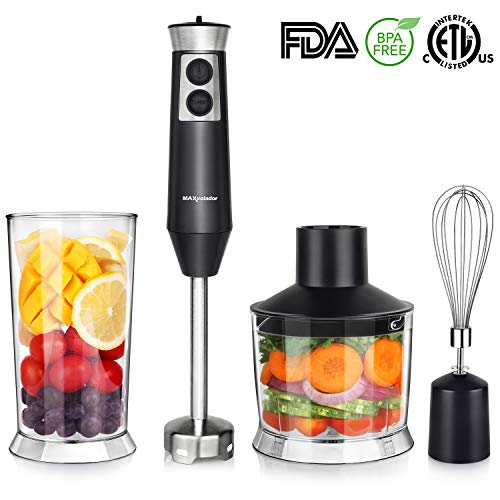 Powerful 4-in-1 Immersion Hand Blender Set, 500W Multi-Speed Heavy Duty Pure Copper Motor, Stainless Steel Finish, Includes Food Chopper, Whisk Attachment, BPA-Free, cETLus Listed, FDA (Black) For Sale