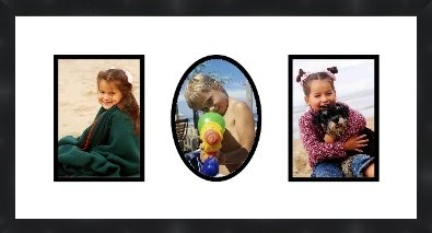 Frames by Mail Triple Square Opening Collage Frame for 6 x 8 Photo Black