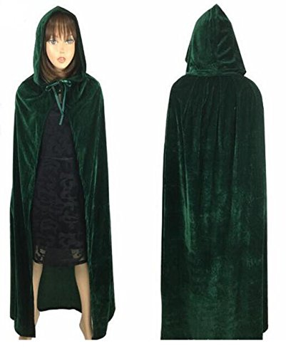Labu Store Witch Long Purple Green Red Black Purim Carnival Halloween Cloaks Hood And Capes Halloween Costumes For Women Men by Labu Store