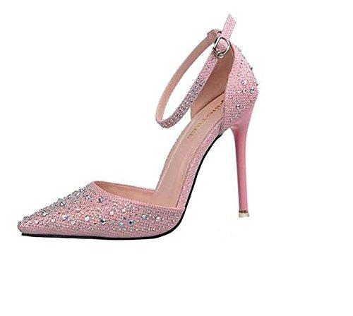 Stiletto Verano Brillante para mujer fuera Plata vestido Negro Fiesta y Heel Gris Primavera de de boda noche Rosado Zapatos brillo el Hebilla de Oro ahueca sintético Rosa hacia Cuero w5YxZXq8