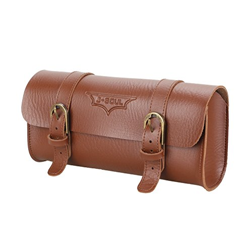 MMRM Elegant Appearance Hand Stitched Bicycle Saddle Bag Retro Pannier Leather Seat Front Handlebar Tool Bag (Brown)