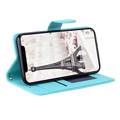 Book Style Hülle für iPhone X, Moon mood® Litchi Skin Ledertasche für Apple iPhone X/iPhone 10 5.8 Zoll PU Leder Folio Handyhülle Premium Bumper Tasche Handytasche Stand Case mit Standfunktion Halter  Blau