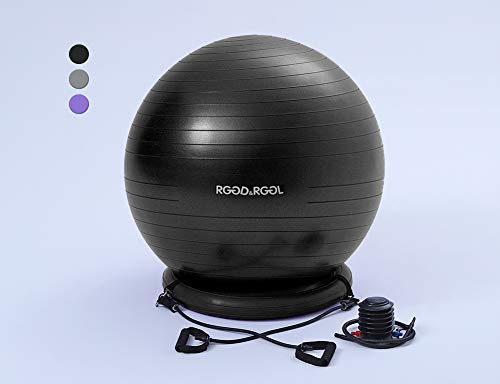 RGGD&RGGL Yoga Ball Chair, Exercise Balance Ball Chair 65cm with Inflatable Stability Ring, 2 Resistant Bands and Pump for Core Strength and - Exercise Back Ball