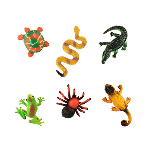 HunSon Mini Reptile Figures (6 Pieces), Mini Reptile Animal Toys Cupcake Toppers, Reptile Animal Cake Decoration Figures for Animal Theme Parties, Gift for Boys and Girls, Learning Animal toys]()