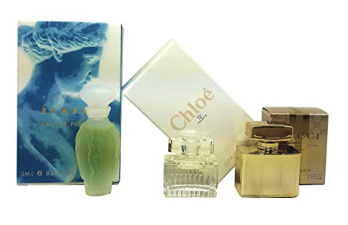 Perfume Studio 3 Piece Women Bundle Collection set of Individually Boxed Travel Size Fragrances: Ethere by Vicky Tiel EDP 0.17oz Splash, Chloe EDT 0.17oz Splash, G. Prëmïere EDP 0.16oz Splash