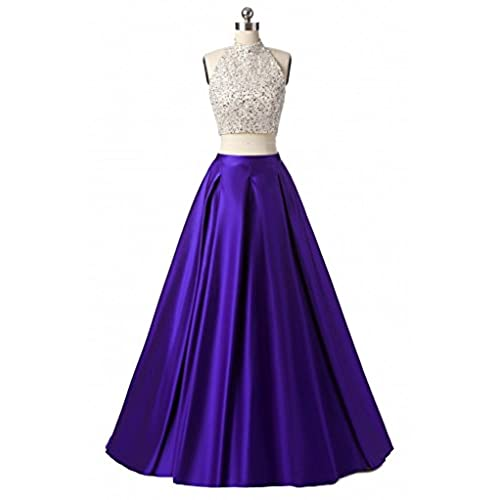 Meilishuo Two Pieces Beaded Sparkly Prom Ball Gown Long Evening Party Dresses 2 Piece TP006